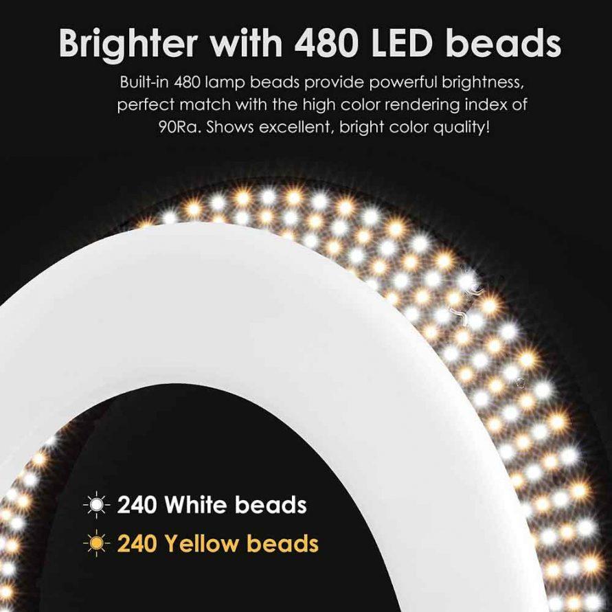 تعداد 480 لامپ LED در Ring Light مدل RL-18