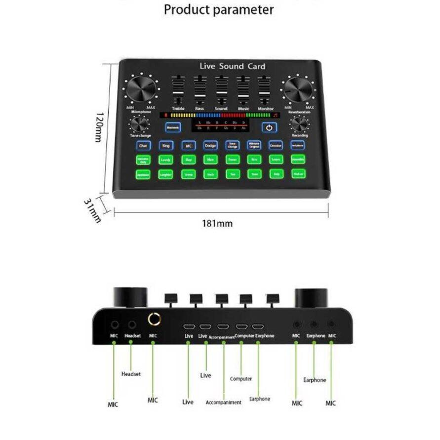 ابعاد و اندازه های کارت صدای V8S