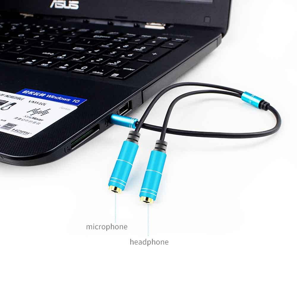 استفاده از تبدیل 1 به 2 میکروفون و هدفون برای لپ تاپ