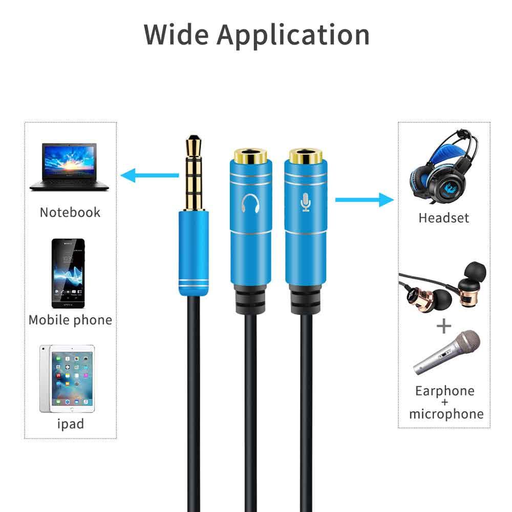 مبدل1 به 2 میکروفون و هدفون برای انواع موبایل ، تبلت ، لپ تاپ و غیره