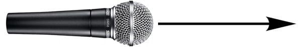 آدرس دهی از بالا در میکروفون Shure SM58